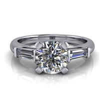 Tapered Baguette Round Brilliant Engagement Ring 1ct.