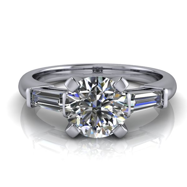 Tapered Baguette Round Brilliant Engagement Ring 1ct