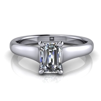 Graduated Trellis Emerald Cut Solitaire Engagement Ring ½ct.