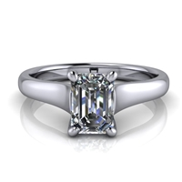 Graduated Trellis Emerald Cut Solitaire Engagement Ring ¾ct.
