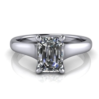 Graduated Trellis Emerald Cut Solitaire Engagement Ring 1ct.
