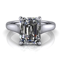 Graduated Trellis Emerald Cut Solitaire Engagement Ring 1¾ct.