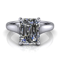 Graduated Trellis Emerald Cut Solitaire Engagement Ring 2ct.