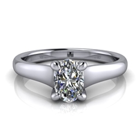 Graduated Trellis Oval Cut Solitaire Engagement Ring ½ct.