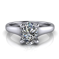 Graduated Trellis Oval Cut Solitaire Engagement Ring 1ct.