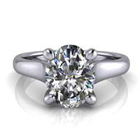 Graduated Trellis Oval Cut Solitaire Engagement Ring 1½ct.