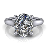 Graduated Trellis Oval Cut Solitaire Engagement Ring 2ct.
