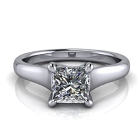 Graduated Trellis Princess Cut Solitaire Engagement Ring ¾ct.