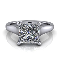 Graduated Trellis Princess Cut Solitaire Engagement Ring 1¾ct.
