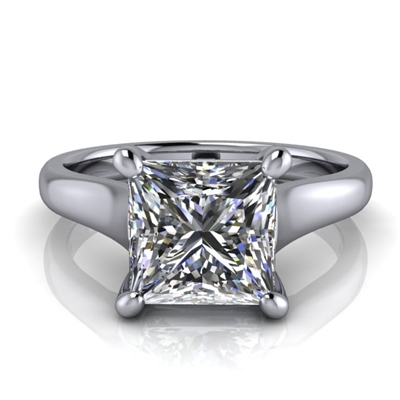 Graduated Trellis Princess Cut Solitaire Engagement Ring 2ct.