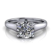 Graduated Trellis Round Brilliant Solitaire Engagement Ring 1ct.