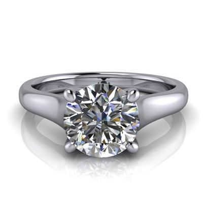 Graduated Trellis Round Brilliant Solitaire Engagement Ring 1¼ct.