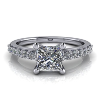 Princess Cut Classic Shared Prong Engagement Ring ¾ct.