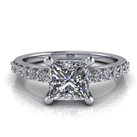 Princess Cut Classic Shared Prong Engagement Ring 1ct.
