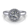 Single Halo Round Brilliant Engagement Ring ¾ct.