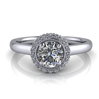 1/2ctw. Single Halo Round Brilliant Engagement Ring