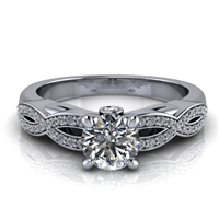 Love Twist Round Engagement Ring with Surprise Diamond ½ct.