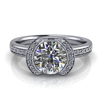 Modern Ribbon Halo Engagement Ring 1ct.