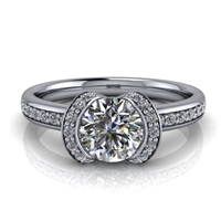 Modern Ribbon Halo Engagement Ring ¾ct.