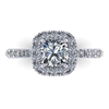 18k Preset Cushion Pave Halo Engagement Ring 1.3ctw.