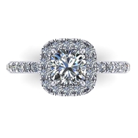 18k Preset Cushion Cut Pave Halo Engagement Ring 1.6ctw.