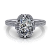 Floral Halo Oval Diamond Engagement Ring 1ct.