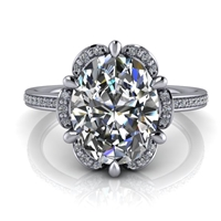 Floral Halo Oval Diamond Engagement Ring 2ct.