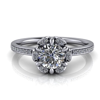 Floral Halo Round Brilliant Engagement Ring ½ct.
