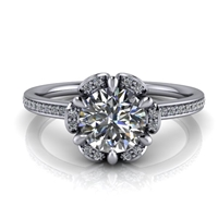 Floral Halo Round Brilliant Engagement Ring ¾ct.