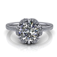 Floral Halo Round Brilliant Engagement Ring 1ct.