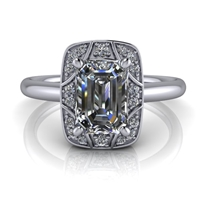 Vintage Art Deco Inspired Emerald Cut Engagement Ring 1ct.