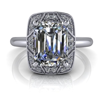 Vintage Art Deco Inspired Emerald Cut Engagement Ring 2ct.