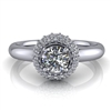 "Domed Halo Round Brilliant Engagement Ring â…""ct."