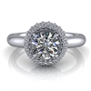 Domed Halo Round Brilliant Engagement Ring ¾ct.