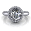 Domed Halo Round Brilliant Engagement Ring 1ct.