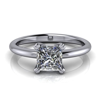 Basket Set Princess Cut Solitaire Engagement Ring ¾ct.