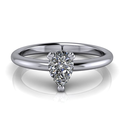 Basket Set Pear Cut Solitaire Engagement Ring ½ct.