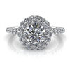 Double Angel Halo Round Brilliant Engagement Ring ¾ct.