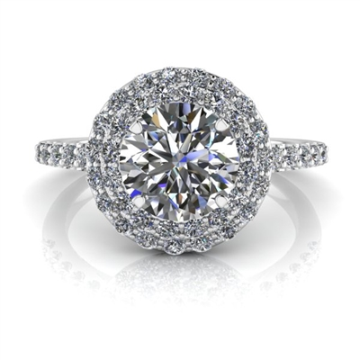 Double Angel Halo Round Brilliant Engagement Ring 1ct.