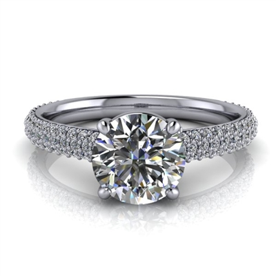 Three Row Pave Engagement Ring 1ct.