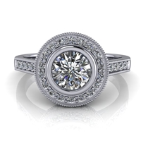 Julia Bezel Set Halo Engagement Ring .50ct.