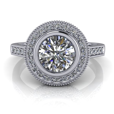 Julia Bezel Set Halo Engagement Ring .75ct.
