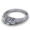 Three Stone Engagement Ring with Diamond and Milgrain Accents 1/2ct.