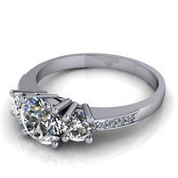 Three Stone Engagement Ring with Diamond and Milgrain Accents 3/4ct.