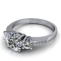 Three Stone Engagement Ring with Diamond and Milgrain Accents 1ct.