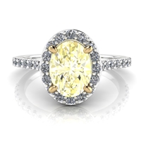 """Elena"" Fancy LIght Yellow Oval Diamond Halo Engagement Ring"
