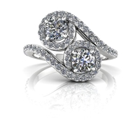 Kaitlyn Two Stone Halo Diamond Ring