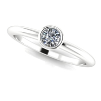 Jaqueline Mini Bezel Sterling Diamond Ring 1/10ctw.