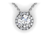 Round Brilliant Diamond Halo Necklace 3/8ctw.