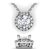 Round Diamond Halo Necklace with Filigree 3/4ctw.